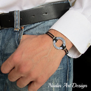 Washer Engraved leather cord bracelet - Black Washer cuff bracelet