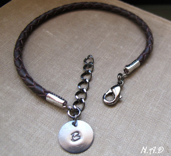 c6e480db7ae1e Braided Brown Leather Bracelet with Initial Disc