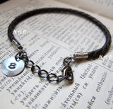 Braided Brown Leather Bracelet with Initial Disc