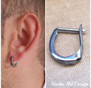 Hoop dark huggie earring for men