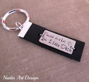Message leather keychain