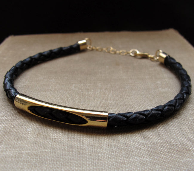 Leather Braided Men S Bracelet Black Gold Bracelet For Men Nadin