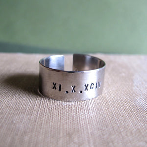 Roman Date Ring - Personalized Anniversary Gift