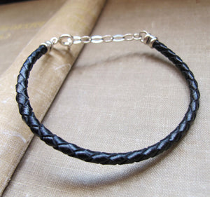 Braided Black Leather Bracelet for Men