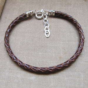 Red Braided Leather Bracelet for Men