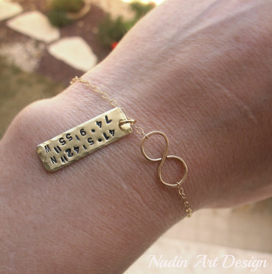 Hand stamped charm infinity gold bracelet
