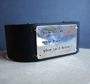 Wide Leather Wristband for Men