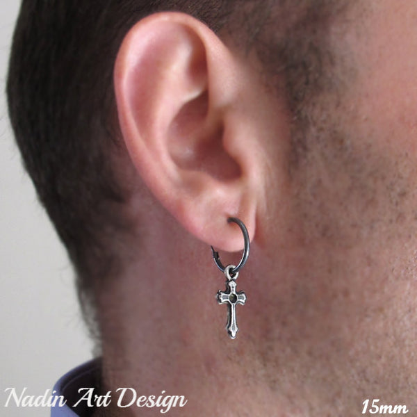 Single Black Hoop Earring with Cross for Men - Sterling Silver Jewelry -  Nadin Art Design - Personalized Jewelry 53fa59cad7