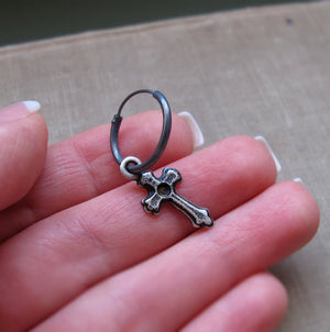 Single Black Hoop Earring with Cross for Men