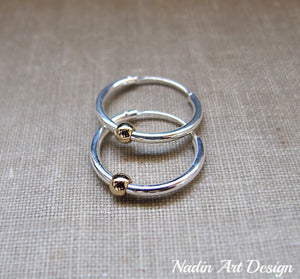 small hoops with bead, sterling silver hoops, Endless hoops, fashion earrings, everyday earrings