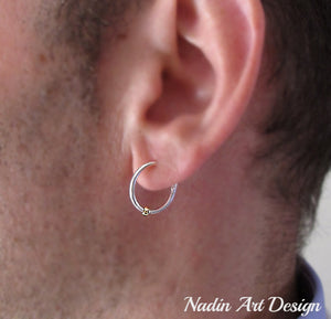 Ball hoop earrings for men