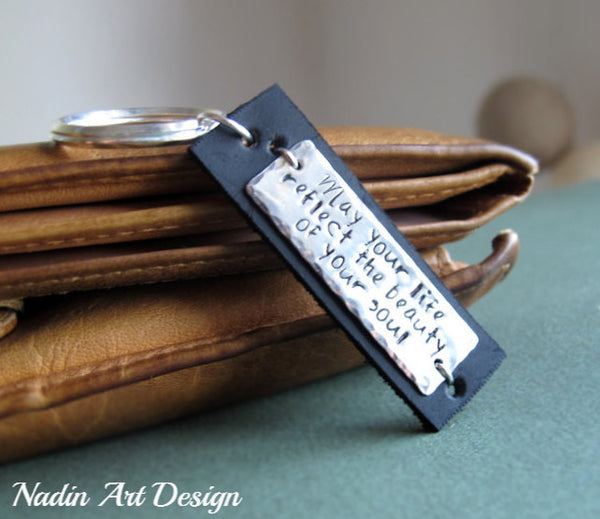 Hand stamped metal and leather key chain