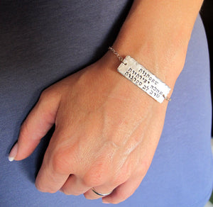 Hebrew Text Engraved Bracelet - Jewish jewelry
