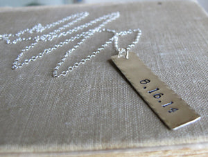 Bar Pendant Necklace in Sterling Silver - Custom Pendant