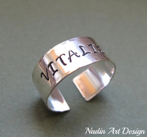 Wide silver name ring