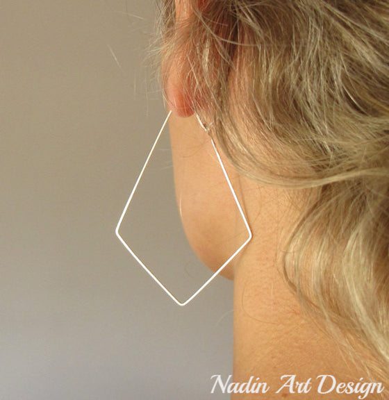 Long geometric silver earrings