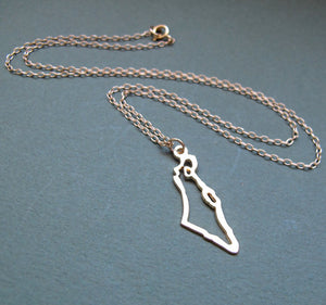 Israel Map Gold Necklace - Jewish Jewelry