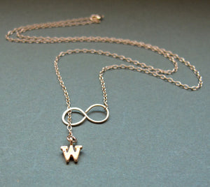 Infinity Necklace with Gold Initial Charm