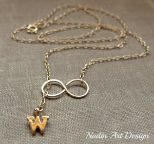 Infinity gold letter necklace