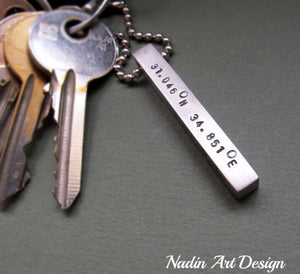 Men's engraved key chain tag