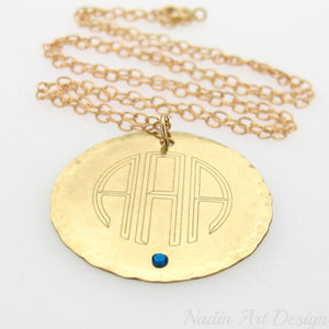 Monogram round charm birthstone gold necklace
