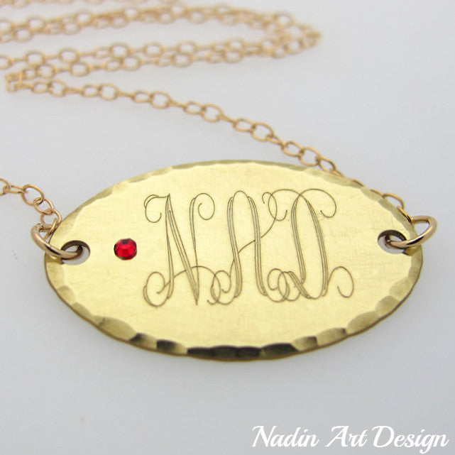 Monogram gold necklace with birthstone crystalpersonalized monogram gold necklace with birthstone monogram charm birthstone gold necklace aloadofball Gallery