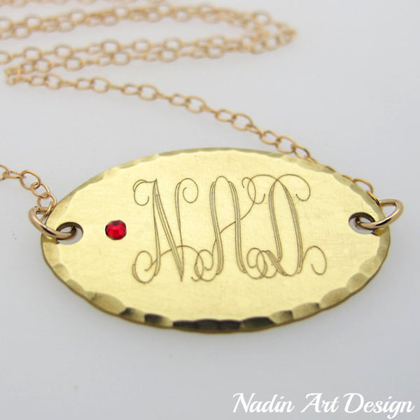 Monogram charm birthstone gold necklace