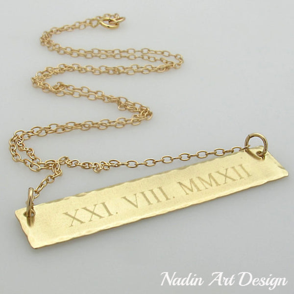 Roman numeral ID gold necklace