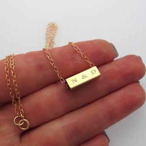 Gold Rectangular Tube Engraved Necklace