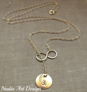 Infinity gold necklace with letter charm