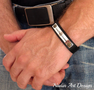 Leather and metal engraved bracelet