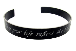 Engraved Message Memory Black Bracelet