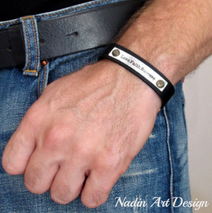 Adjustable leather custom Bracelet for Men