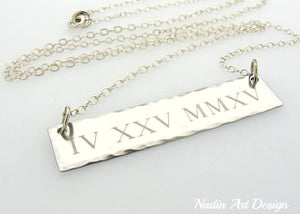 Date engraved silver pendant