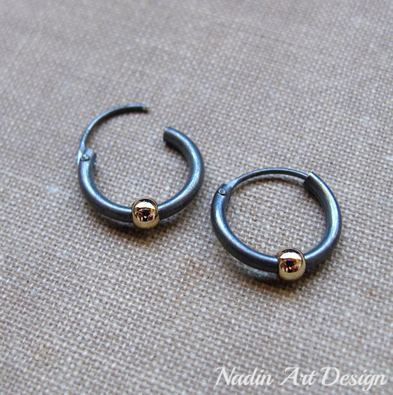 Huggie Black Earrings with Gold Bead