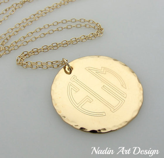 Monogram Gold Engraved Pendant Necklace