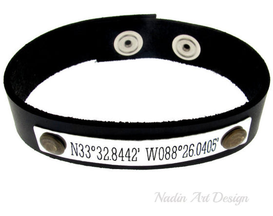 Latitude Longitude Engraved leather Bracelet