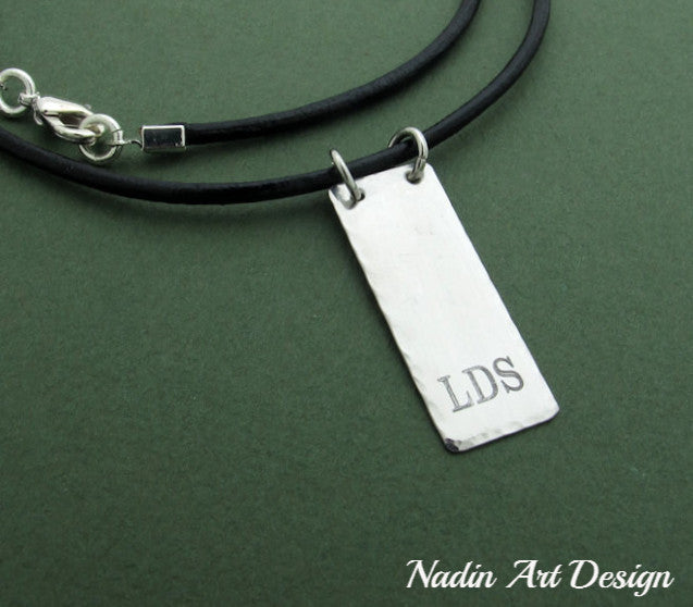 Custom pendant leather necklace id vertical initials cord necklace initial engraved pendant custom leather necklace aloadofball Gallery