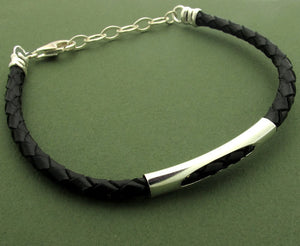 Black Leather Braided Bracelet for Men