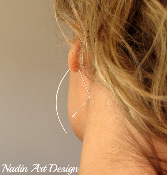 Sterling Silver Half Moon Earrings