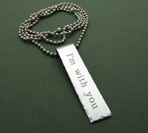 Rectangular Engraved Pendant Necklace - Gift for Him
