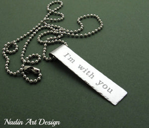 Text tag chain necklace