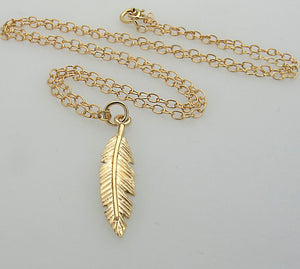 Gold Filled Feather Pendant Layer Necklace