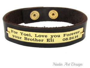 Engraved Leather Mens Bracelets