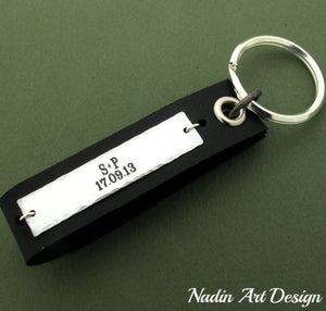 Custom engraved leather key chain