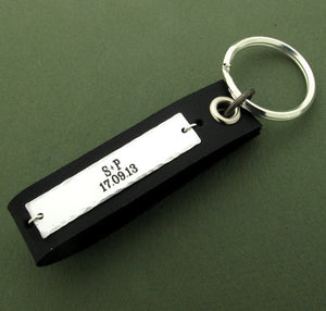 Personalized Latitude Longitude Leather Key Chain for Men