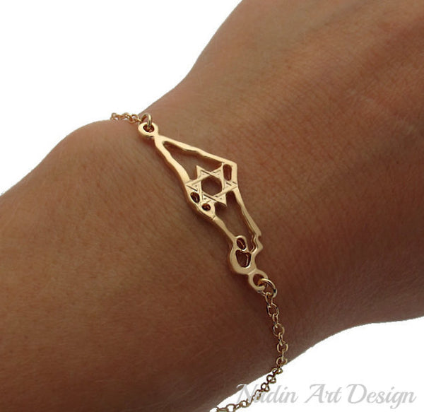 Israel map star gold bracelet