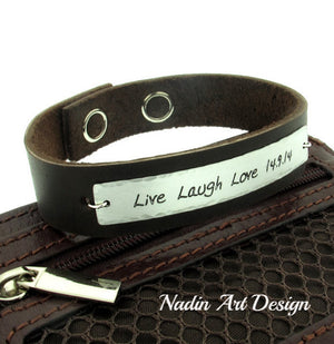 Adjustable leather cuff with engraving