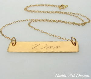 Nameplate gold chain necklace