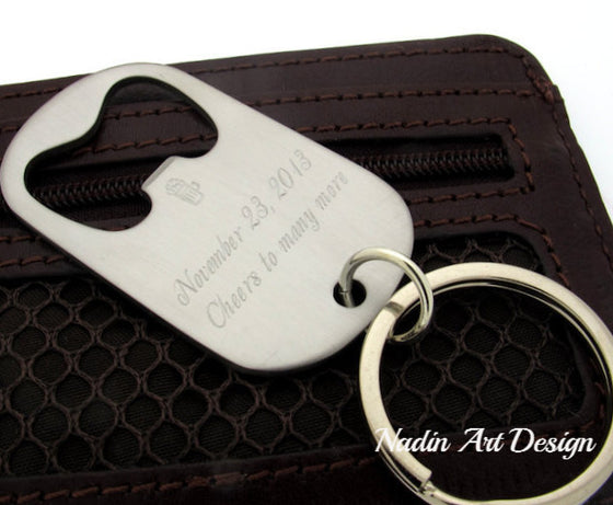 engraved Bottle Opener Keychain, Cool Mens Gifts